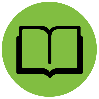 Library green icon representing a book