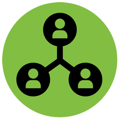 Network green icon representing people linked together