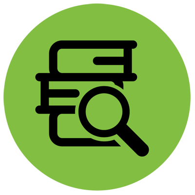 Research green icon with books and magnifying glass