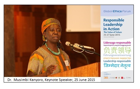 Photo: Dr. Musimbi Kanyoro presenting her speech at the GEF 2015 in Geneva, 25 June 2015